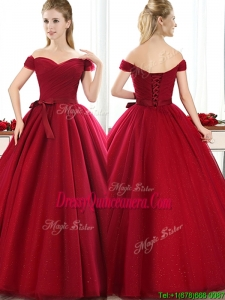 New Arrivals Off the Shoulder Wine Red Dama Dress with Bowknot