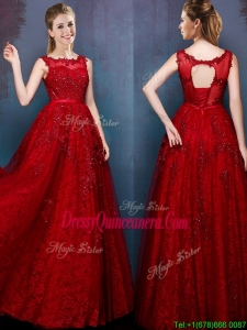 See Through Scoop Wine Red Dama Dress with Beading and Appliques