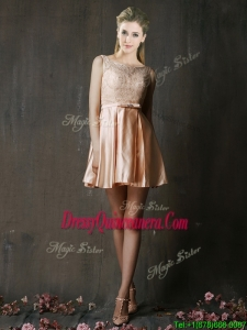 Best Selling Laced and Belted Short Dama Dress in Peach