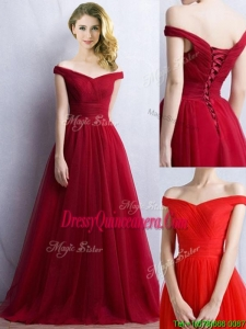 Elegant Off the Shoulder Cap Sleeves Dama Dress in Wine Red