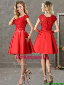Gorgeous Scoop Cap Sleeves Red Dama Dress with Lace and Bowknot