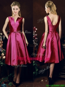 Popular V Neck Knee Length Bowknot Dama Dress in Fuchsia