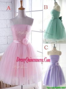 Unique Strapless Tulle Short Dama Dress with Handcrafted Flower