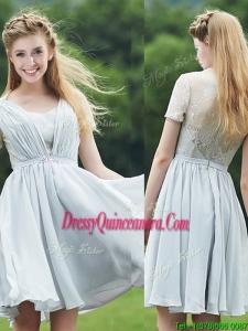 Elegant Sweetheart Short Sleeves Dama Dress with Belt and Lace