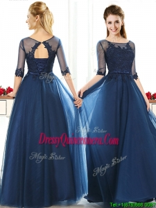 Luxurious See Through Scoop Half Sleeves Dama Dress with Lace and Belt