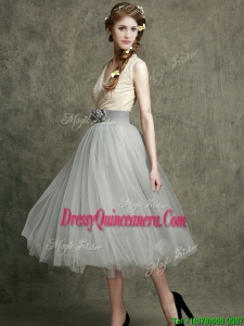 Wonderful Hand Made Flowers and Belted Dama Dress with Tea Length