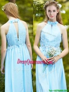 Discount Halter Top Light Blue Dama Dress with Appliques