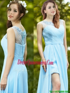 Elegant See Through Scoop Appliques Dama Dress in Light Blue