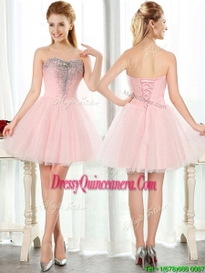 Lovely Beaded and Sequined Short Dama Dress in Baby Pink
