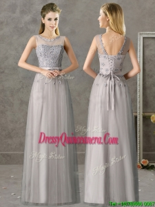 Beautiful See Through Scoop Grey Long Dama Dress with Appliques