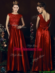 Cheap Scoop Laced and Bowknot Dama Dress in Wine Red
