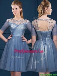Exclusive Scoop Short Sleeves Beading Dama Dress in Navy Blue