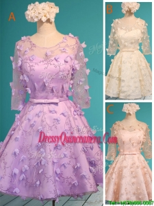 Exclusive See Through Scoop Half Sleeves Dama Dress with Appliques and Belt