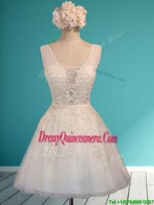 Gorgeous White Deep V Neckline Dama Dress with Appliques and Belt