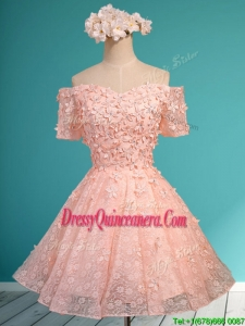 Lovely Off the Shoulder Short Sleeves Dama Dress with Appliques and Beading