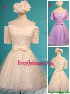 New Style Off the Shoulder Short Sleeves Dama Dress with Bowknot