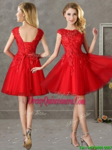 Romantic Bateau Cap Sleeves Short Dama Dress with Lace