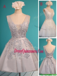 See Through Deep V Neckline Dama Dress with Appliques and Belt