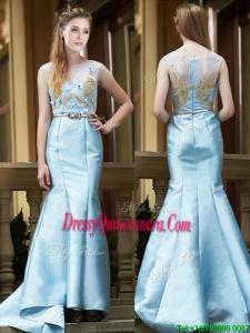Modest Mermaid Applique Brush Train Dama Dress in Light Blue