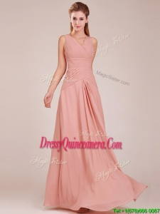 Modest Ruched Decorated Bodice Peach Dama Dress with V Neck