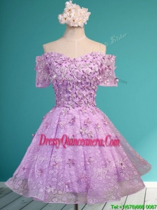 Classical Off the Shoulder Lilac Dama Dress with Appliques and Beading