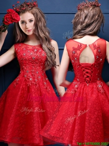 Classical Scoop Red Dama Dress with Appliques and Beading
