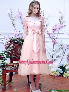 Comfortable Square Half Sleeves Bowknot Dama Dress in Baby Pink