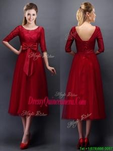 Gorgeous Scoop Half Sleeves Bowknot Dama Dress in Wine Red