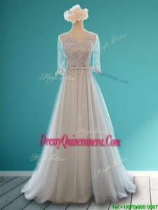 Luxurious Scoop Half Sleeves Grey Dama Dress with Appliques and Belt