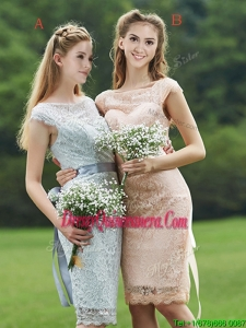 Luxurious See Through Scoop Cap Sleeves Dama Dress with Sashes