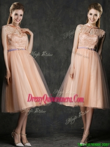 Popular High Neck Peach Dama Dress with Sashes and Lace