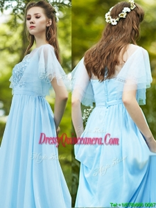 See Through Bateau Short Sleeves Dama Dress with Appliques