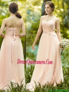 See Through One Shoulder Peach Dama Dress in Floor Length