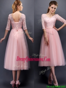 See Through V Neck Half Sleeves Dama Dress with Lace and Belt