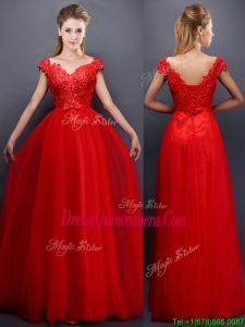 Classical Beaded V Neck Red Dama Dress with Cap Sleeves