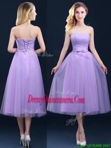 Discount Tea Length Tulle Lavender Dama Dress with Belt