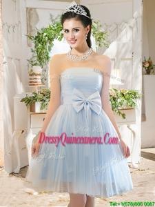 Elegant A Line Strapless Bowknot Short Dama Dress in Light Blue