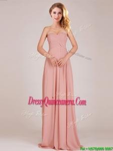 Fashionable Empire Chiffon Ruched Long Dama Dress in Peach