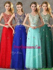 Fashionable V Neck Long Dama Dress with Appliques and Beading