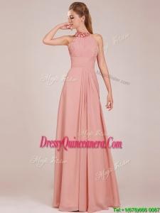 Low Price Halter Top Peach Long Dama Dress in Chiffon