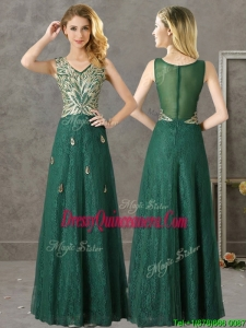 Luxurious V Neck Dark Green Dama Dress with Appliques and Beading