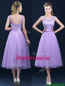 Popular See Through Applique and Belt Dama Dress in Tulle