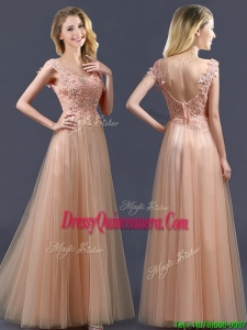 Top Selling V Neck Long Dama Dress with Appliques and Beading