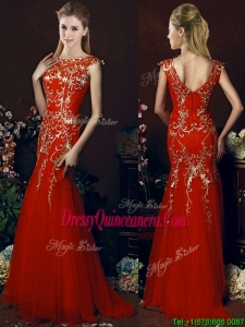 Elegant Mermaid Red Dama Dress with Gold Sequined Appliques