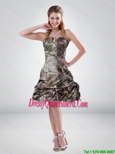 2015 Perfect A Line Strapless Camo Dama Dresses with Beading