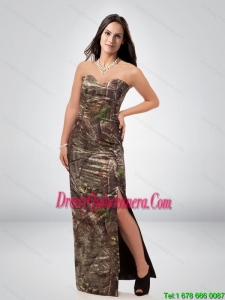 Discount Column Sweetheart Camo Dama Dress with High Slit