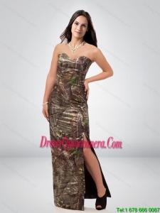 Discount Column Sweetheart Camo Dama Dress with High Slit