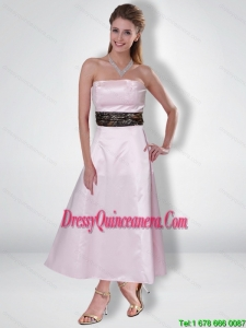 Exquisite 2015 Princess Strapless Ankle Length Camo Dama Dresses