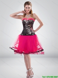 Hot Pink A Line Strapless Camo Dama Dress with Beading for 2015