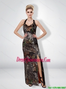 Romantic 2015 Column Halter Top Camo Dama Dresses with High Slit